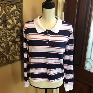 Darling Blue Tops - Darling Blue Long Sleeve Polo Size S